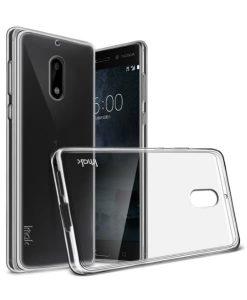Nokia 6 IMAK Clear Soft Case + Suojakalvo, Kirkas.