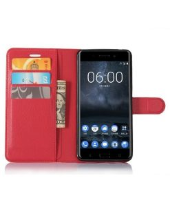 Nokia 6 Wallet Leather Case, Punainen.