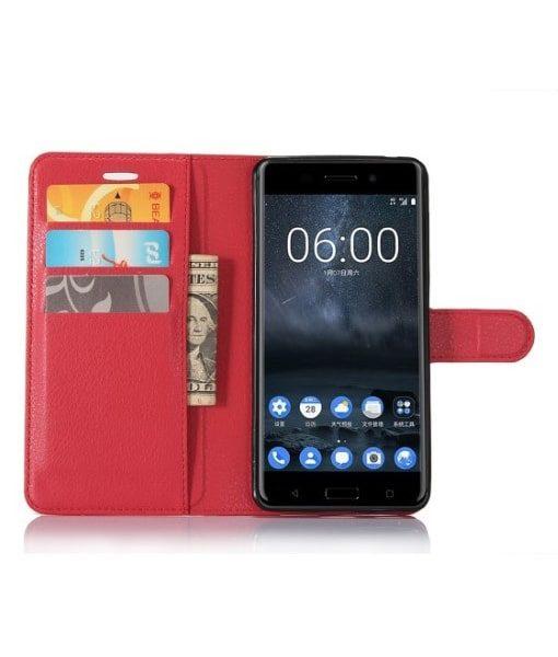 Nokia 6 Wallet Leather Case, Punainen.