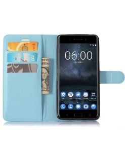 Nokia 6 Wallet Leather Case, Sininen.