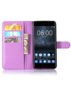 Nokia 6 Wallet Leather Case, Lila.