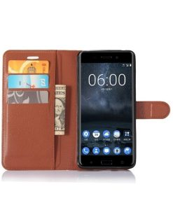 Nokia 6 Wallet Leather Case, Ruskea.