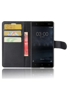 Nokia 3 Wallet Leather Case, Musta.