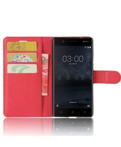 Nokia 3 Wallet Leather Case, Punainen.