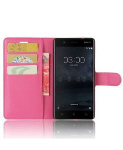 Nokia 3 Wallet Leather Case, Rose.