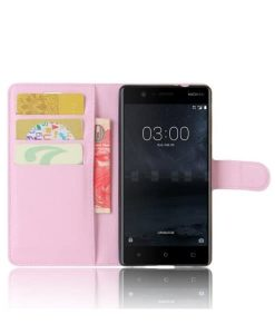 Nokia 3 Wallet Leather Case, Pink.