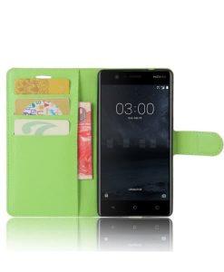 Nokia 3 Wallet Leather Case, Vihreä.