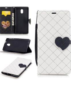 Nokia 3 Love Heart Wallet Cover, Valkoinen.