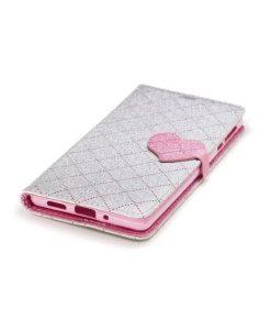 Nokia 3 Love Heart Wallet Cover, Silver.