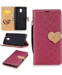 Nokia 3 Love Heart Wallet Cover, Punainen.