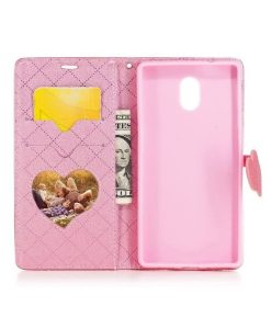 Nokia 3 Love Heart Wallet Cover, Rose.
