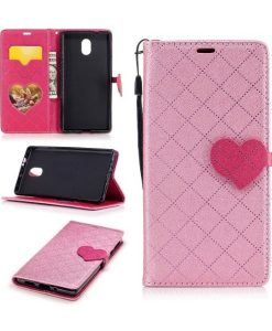 Nokia 3 Love Heart Wallet Cover, Pink.