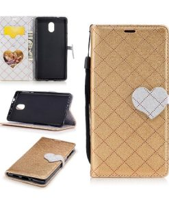 Nokia 3 Love Heart Wallet Cover, Gold.