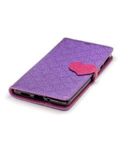 Nokia 3 Love Heart Wallet Cover, Lila.