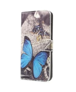 Huawei Honor 9 Pattern Printing Wallet Case, Blue Butterfly.