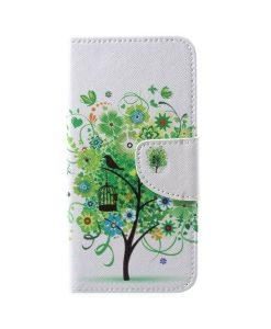 Huawei Honor 9 Pattern Printing Wallet Case, Green Flowers.