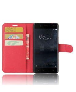 Nokia 5 Wallet Leather Case, Punainen.