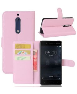 Nokia 5 Wallet Leather Case, Pink.