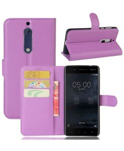 Nokia 5 Wallet Leather Case, Lila.