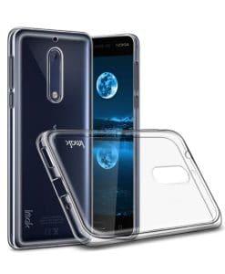 Nokia 5 IMAK Clear Soft Case + Suojakalvo, Kirkas.