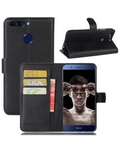 Huawei Honor 8 Pro Wallet Leather Case, Musta.