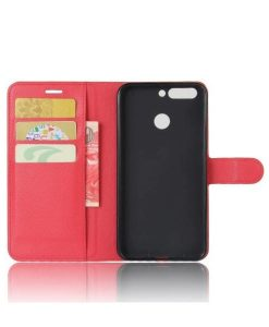 Huawei Honor 8 Pro Wallet Leather Case, Punainen.