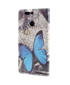 Huawei Honor 8 Pro Pattern Printing Wallet Case, Blue Butterfly.