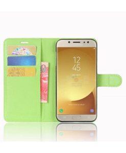 Samsung Galaxy J7 (2017) Wallet Leather Case, Vihreä.