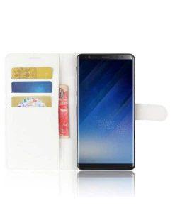 Samsung Galaxy Note 8 Wallet Leather Case, Valkoinen.