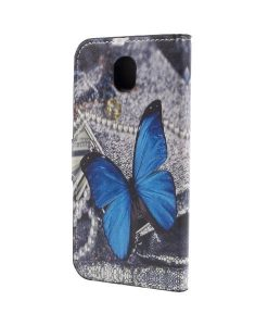 Samsung Galaxy J7 (2017) Printing Wallet Case, Purple Butterfly.