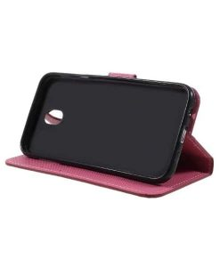 Samsung Galaxy J7 (2017) Printing Wallet Case, Red Plum.