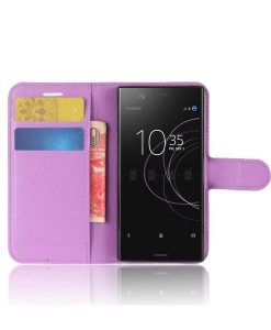 Sony Xperia XZ1 Compact Wallet Leather Case, Lila.