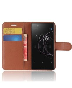 Sony Xperia XZ1 Compact Wallet Leather Case, Ruskea.