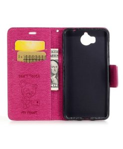 Huawei Y6 (2017) Bear Magnetic Wallet Case, Rose.