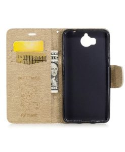 Huawei Y6 (2017) Bear Magnetic Wallet Case, Gold.