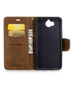 Huawei Y6 (2017) Bear Magnetic Wallet Case, Ruskea.
