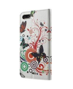 Apple iPhone 8 Plus WalletCase Suojakotelo, Circle Butterfly.